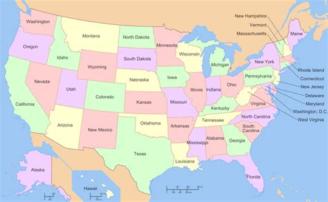 country map with state names list of states and territories of the united states