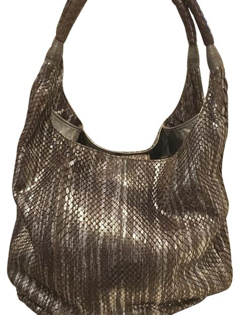 Carlos Falchi Medium Boat Hobo by Carlos Falchi Metallic Silver Python Snakeskin Large Hobo