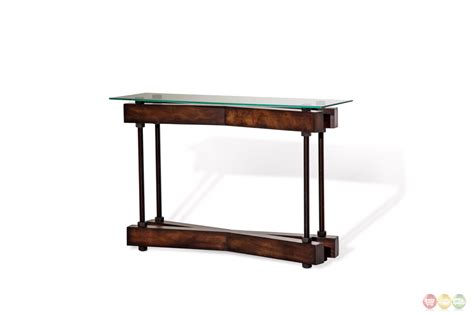 glass sofa table modern killington rustic modern sofa table w glass top