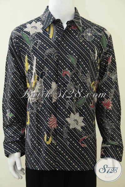 Harga Barang Termurah Hem Pria Lengan Panjang Warna Putih List Hitam baju batik trendy motif unik dengan warna dasar hitam pria til elegan hem batik lengan