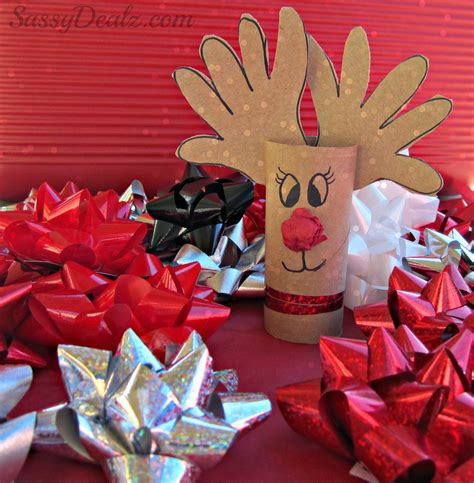 Crafts Using Paper - handprint reindeer toilet paper roll craft for