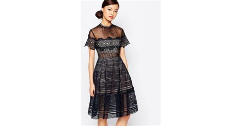 Felicia Dress Navy Bn559x self portrait felicia lace mini dress in black navy lyst