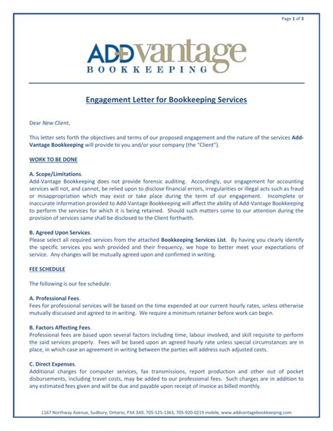 engagement letter bookkeeping services add