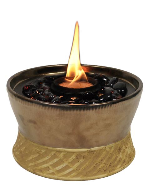 Firepit Ceramics Tiki 1114152 Small Bronze Firepit Ceramic Clean Burn Tabletop Firepiece
