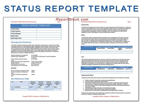 status update report template status update template 28 images weekly project status