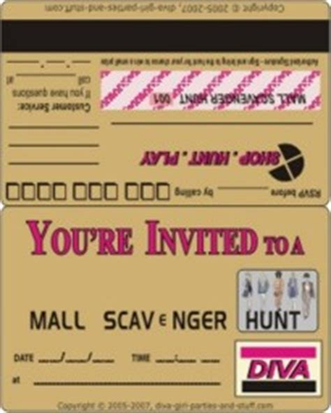 Credit Card Birthday Invitation Template Mall Clue Hunt