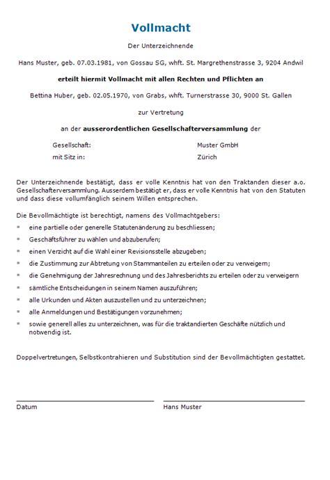 Vorlage Schenkungsvertrag Schweiz Vollmacht Ausserordentliche Gesellschafterversammlung Muster Zum