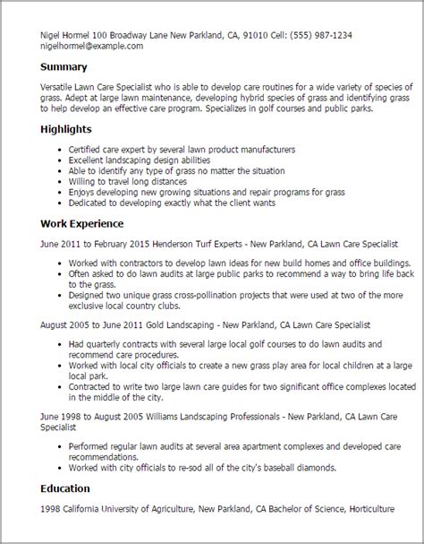 1 lawn care specialist resume templates try them now