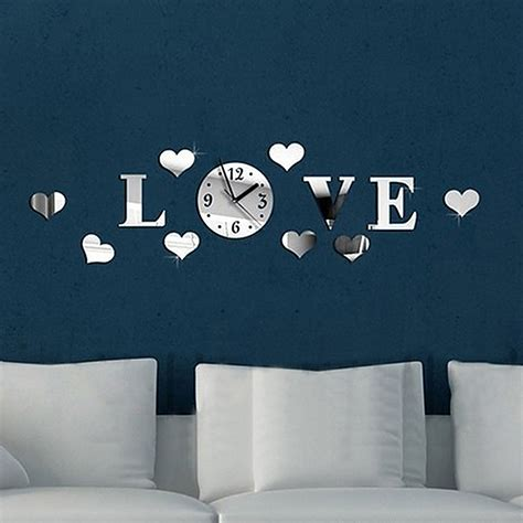 how to stick decorations without damaging walls diy hearts luxury 3d wall acrylic clock mirror