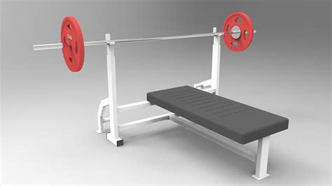 bench barbell chest press bench press barbell gym 3d model sldprt sldasm slddrw cgtrader com