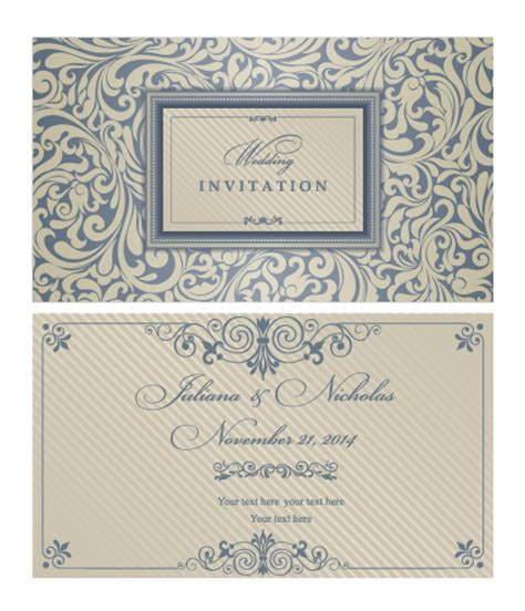 wedding invitation card design vector free download decorative pattern wedding invitation cards vector set 01