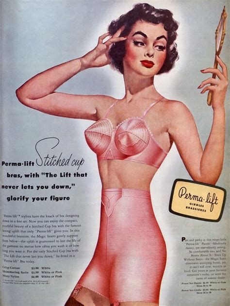 vintage bra commercials 1950s pink full color bullet bra and girdle advertisement