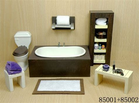 dollhouse bathroom furniture 1 12 scale doll house mini wooden modern bathroom set