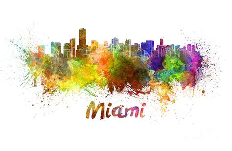 Home Decor Curtains Online Miami Skyline In Watercolor Painting By Pablo Romero