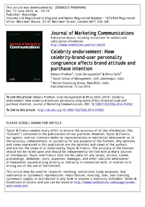 celebrity endorsement meaning pdf celebrity endorsement how celebrity brand user
