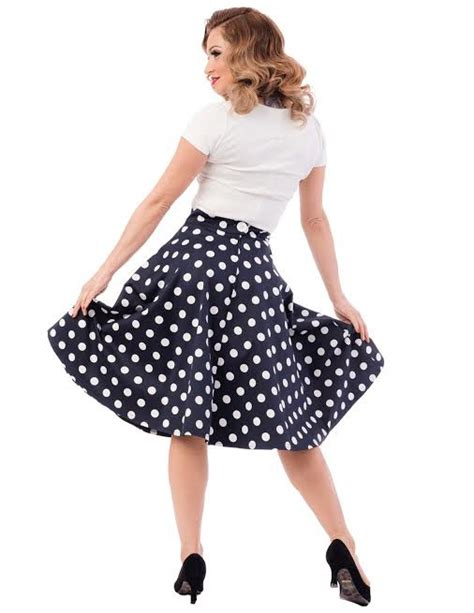 blue white polka dot thrills high waisted skirt by
