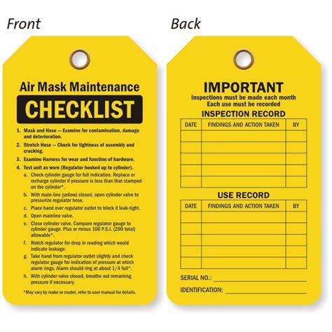 air tags sided air mask maintenance checklist status record tag sku tg 0598