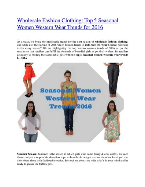 wholesale fashion clothing top 5 seasonal western