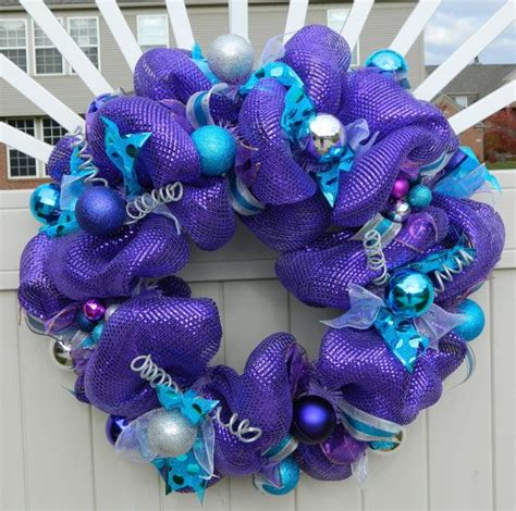 clearance purple birthday wreath metallic purple deco mesh wreath purple teal silver wreath