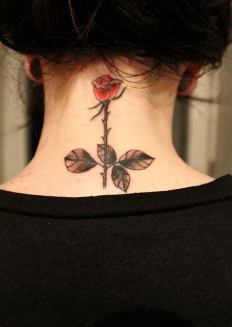 neck tattoo elegant elegant rose tattoo for girls on back neck tattooshunt com