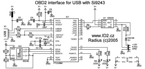 obd2 wiring diagram obd2 to usb interface cable scheme and plate