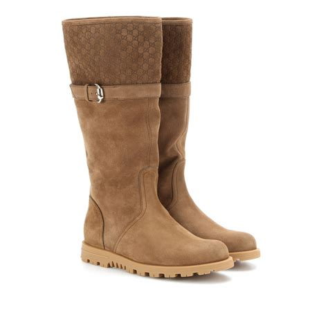 gucci suede boots in brown lyst