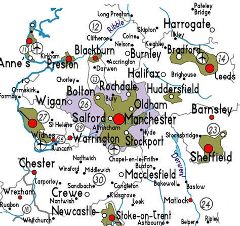 map of greater area uk map of greater manchester in useful information