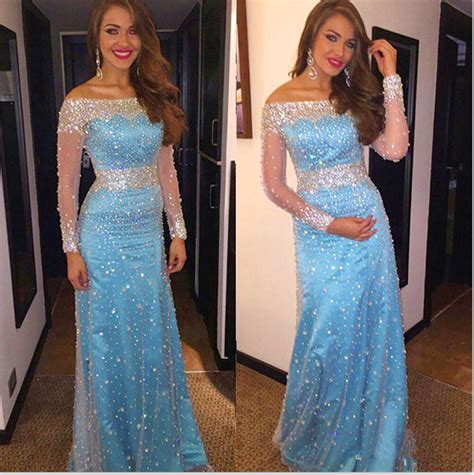 light blue sparkly dress long sleeves prom dresses light blue prom dress prom