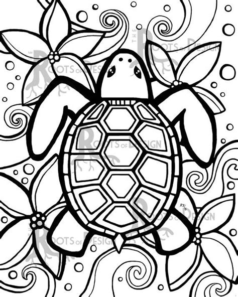 simple turtle coloring page instant download coloring page simple turtle zentangle