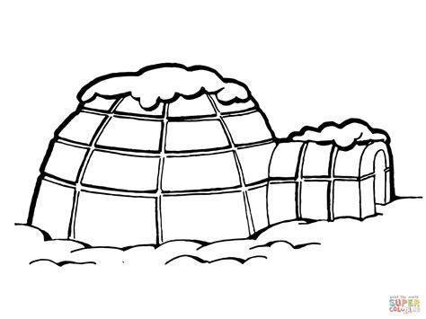 Igloo With Snow On Roof Coloring Pagejpg sketch template