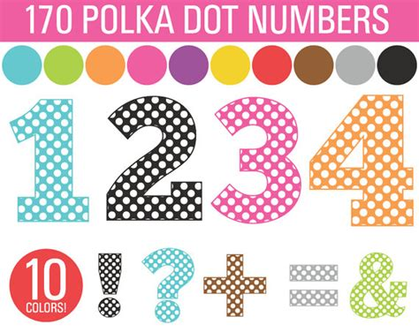 clipart polka dot numbers symbols bundle 170 numbers commercial use by sonya dehart design