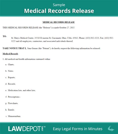 release of medical records template images template design ideas