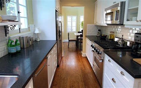 Galley Kitchen Cabinets White And Black Galley Kitchen Transitional Kitchen Jeff Lewis Design