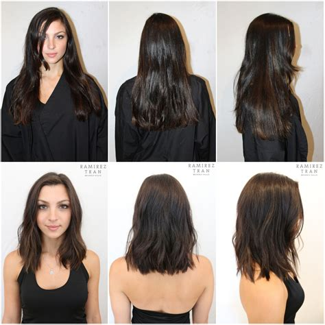 long hair short hair before and after from long to short for summer ramirez tran salon