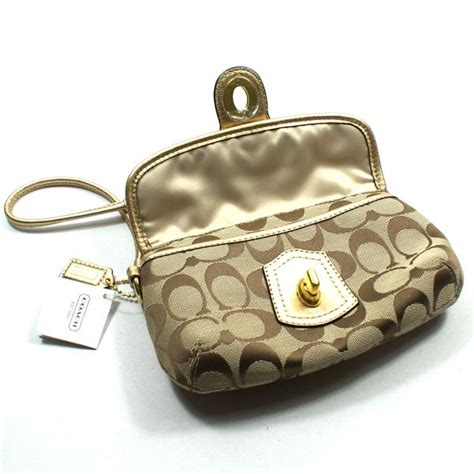 Coach Legacy Signature Cotton Slim Flap by Coach Legacy Signature Capacity Flap Wristlet Gold 41941
