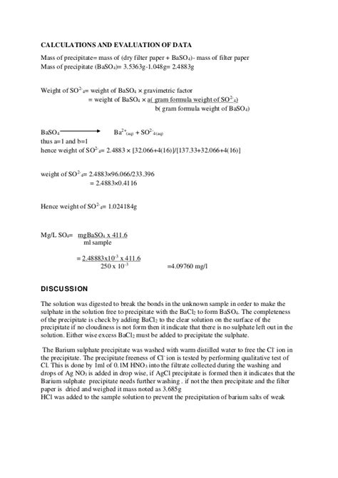 gravimetric analysis lab report sle experiment on the determination of sulphate as barium sulphate