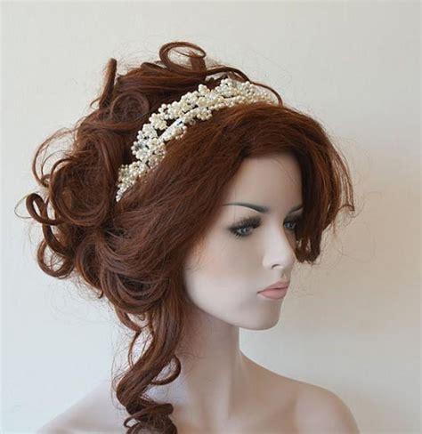 Wedding Hair With Crown by Marriage Bridal Hair Crown Wedding Ivory Pearl Tiara