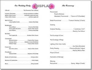 wedding bulletin templates wedding program templates from thinkwedding s print your