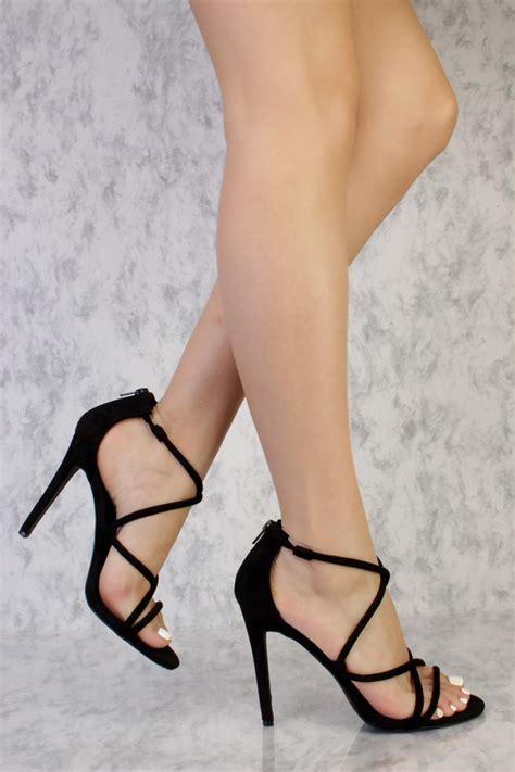 strappy high heels black black strappy criss cross single sole high heel suede