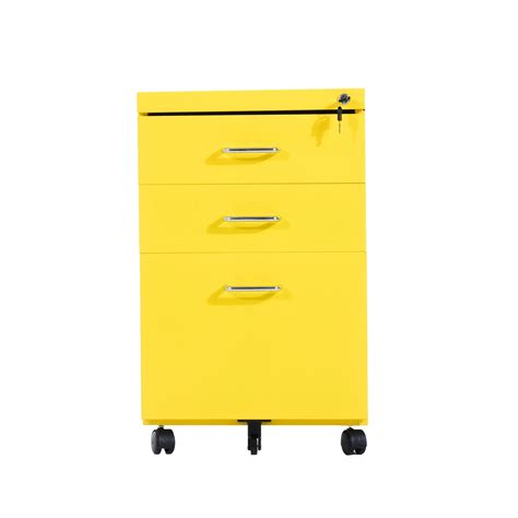 HOMCOM 3 Drawers Metal Filing Cabinet, Lockable, W/Wheels