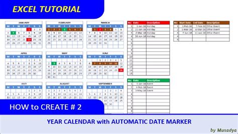 create excel calendar  specific year
