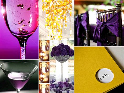 Wedding Details Including Purple Cocktails And Gold Purple And Yellow Wedding Centerpieces