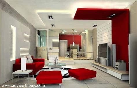 pop for home white red false pop ceilinng design and red sofa set in