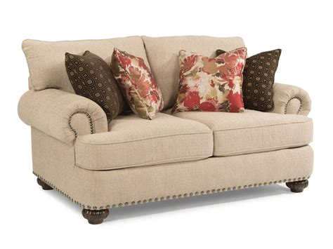 fabric sofa with nailhead trim flexsteel living room fabric loveseat with nailhead trim