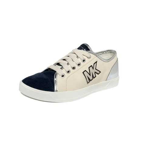 mk sneakers michael kors logo sneakers in blue lyst
