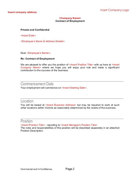 Letter Of Offer Template And Confidential Letter Template