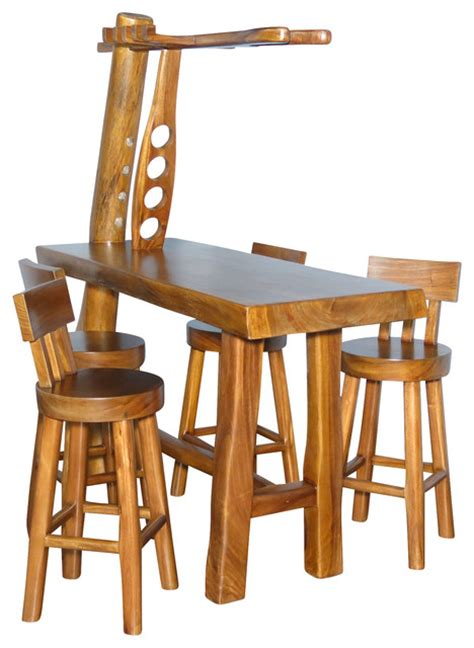 Rustic Bistro Table And Chairs Mbw Furniture Rustic 5 Pc Bar Table Set W 4 Bar Stools View In Your Room Houzz