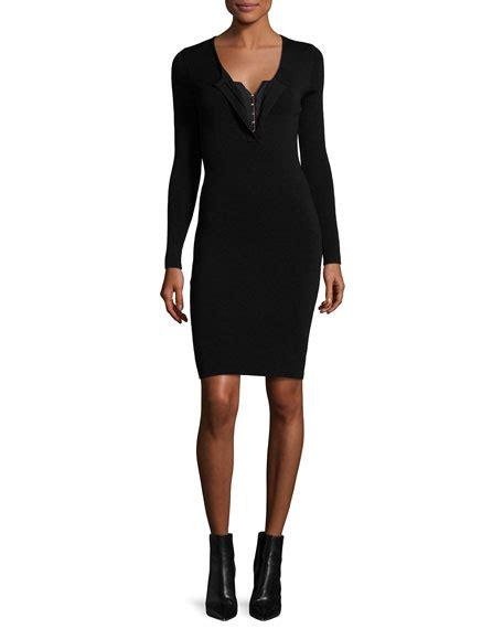 Yoku Dress V fuzzi sleeve corset v neck sheath dress neiman