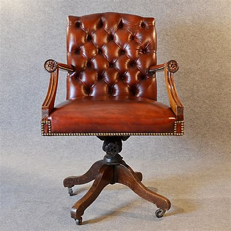 Antique Leather Desk Office Swivel Chair English Edwardian Antique Leather Swivel Chair
