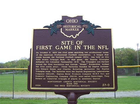 City Of Dayton Records Dayton Triangles Nfl Football Team Historical Marker In Triangle Park Dayton Ohio